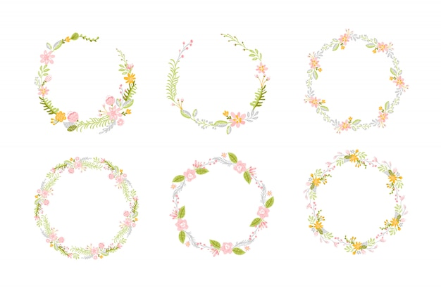 Conjunto de flores de primavera corona de hierbas