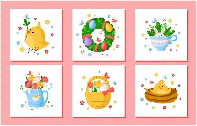 Conjunto de flores de primavera del día de pascua de dibujos animados - tulipanes, narciso, narciso, pollo, rama de sauce, corona floral, conejo