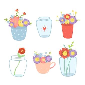 Conjunto de flores de primavera en jarrones