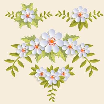 Conjunto de flores realistas con hojas