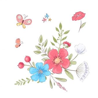 Conjunto de flores silvestres y mariposas. dibujo a mano.