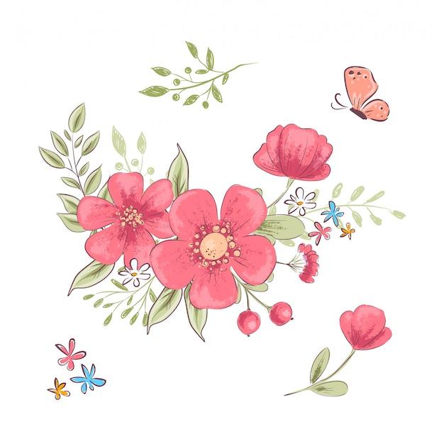 Conjunto de flores silvestres rojas y mariposas. dibujo a mano. ilustración vectorial