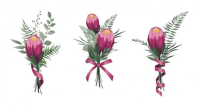 Conjunto de flores de vector.