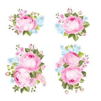 Conjunto de flores vintage sobre fondo blanco.