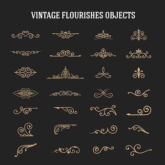 Conjunto de florituras ornamentales vintage