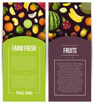 Conjunto de flyer de fruta fresca de granja