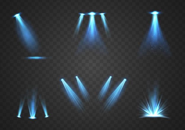 Conjunto de foco con luz brillante ilustración vectorial
