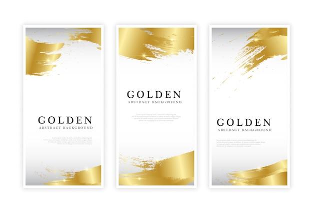 Conjunto de folleto abstracto dorado