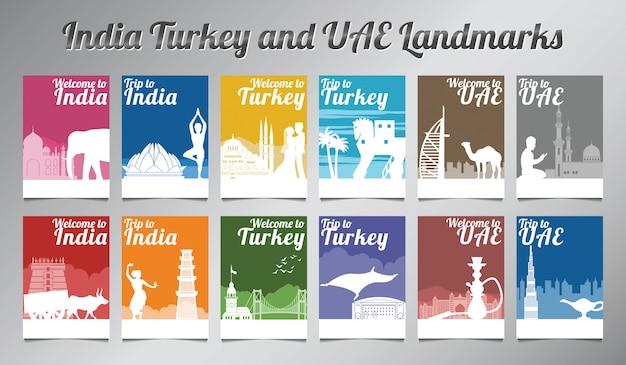 Conjunto de folleto india turquía y emiratos árabes unidos