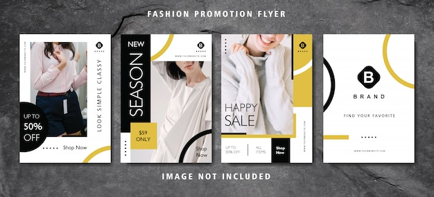 Conjunto de folleto de promoción de moda