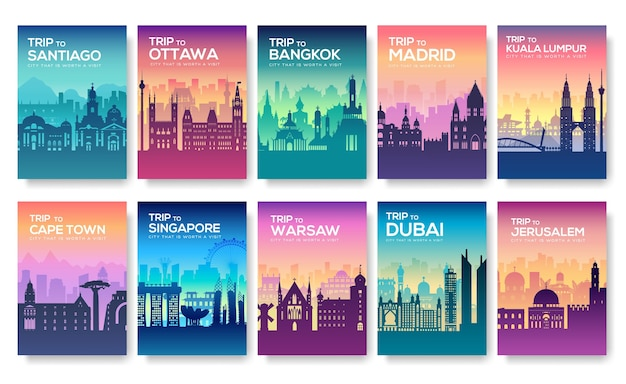 Conjunto de folleto promocional de viaje a las ciudades con siluetas
