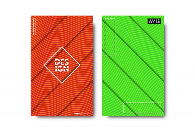 Conjunto de folleto realista con formas minimalistas abstractas en zigzag para decoración y revestimiento sobre fondo blanco.
