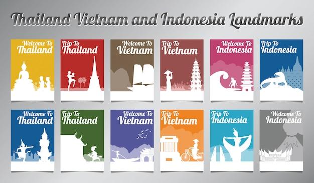 Conjunto de folleto de tailandia, vietnam e indonesia