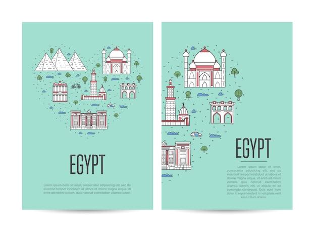 Conjunto de folleto de viaje de egipto en estilo lineal