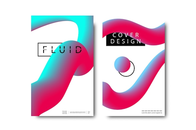 Conjunto de folletos aislados realistas con formas líquidas fluidas de gradiente geométrico