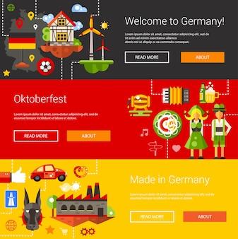 Conjunto de folletos y encabezados con viajes de alemania, iconos de turismo y elementos de infografía