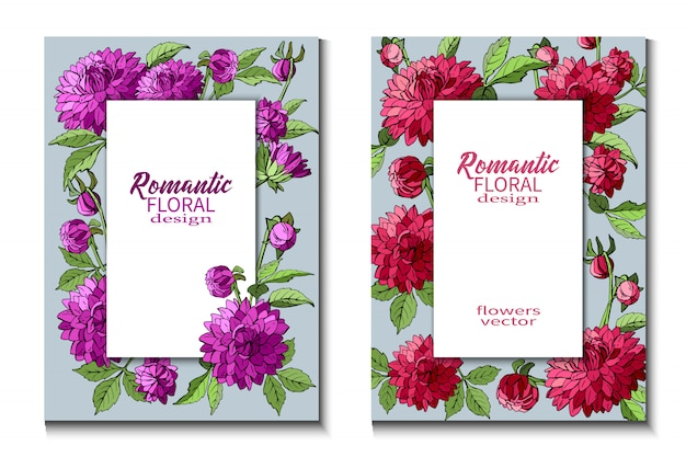 Conjunto de folletos con flores de dalias moradas y rojas