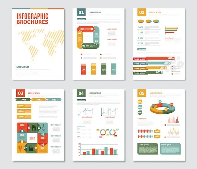 Conjunto de folletos de infografía