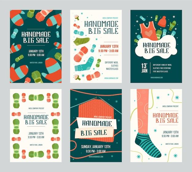 Conjunto de folletos de invitación de gran venta hechos a mano
