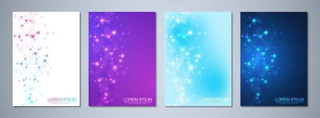 Conjunto de folletos de plantilla o diseño de portada, libro, volante, con fondo de moléculas y red neuronal