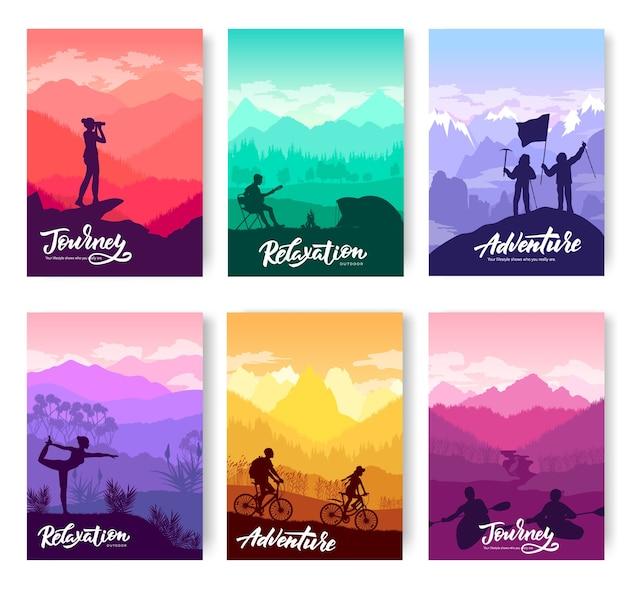 Conjunto de folletos de plantilla de turismo en la naturaleza