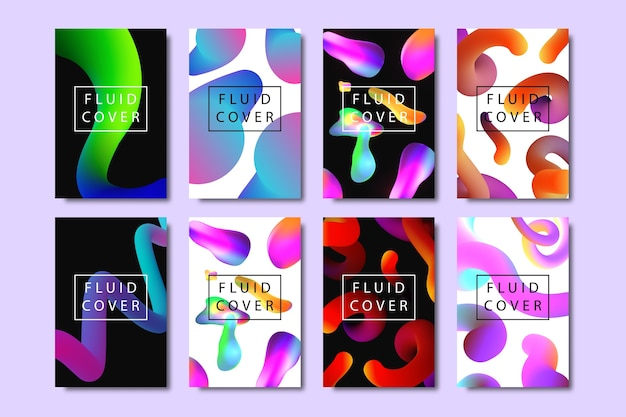 Conjunto de folletos realistas con formas líquidas fluidas de degradado geométrico para decoración y revestimiento en el fondo brillante.