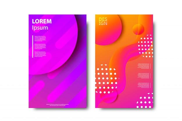 Conjunto de folletos realistas con formas líquidas fluidas de degradado geométrico para decoración y revestimiento sobre fondo blanco.