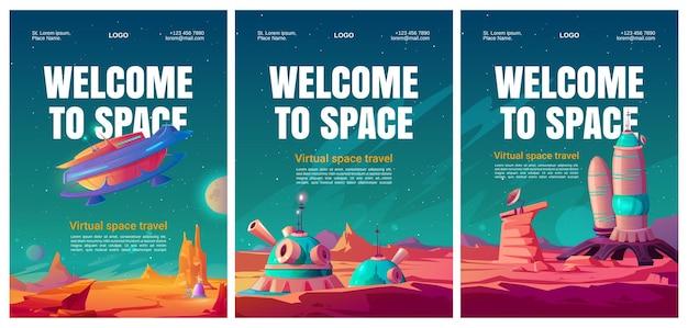 Conjunto de folletos de viajes espaciales virtuales.