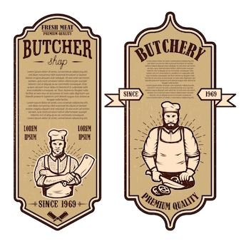 Conjunto de folletos vintage de carnicería y tienda de carne.