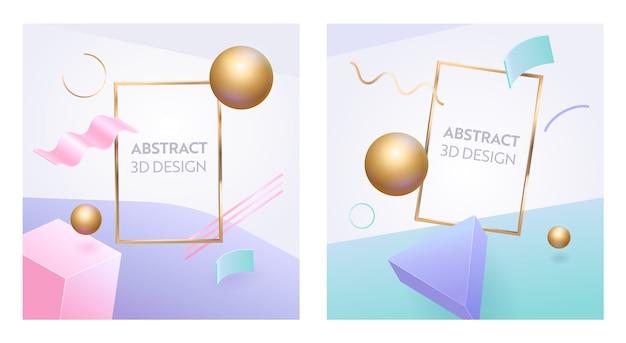 Conjunto de fondo 3d de marco de figura geométrica abstracta