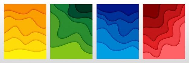 Conjunto de fondo abstracto en 3d y formas de corte de papel