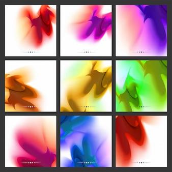Conjunto de fondo abstracto de colores fluidos, colección de nueve diferentes formas fluidas en múltiples opciones de color.