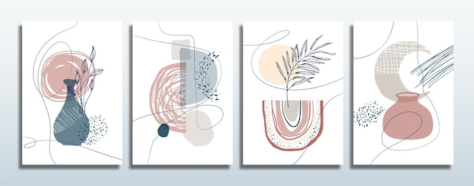 Conjunto de fondo abstracto moderno dibujado a mano