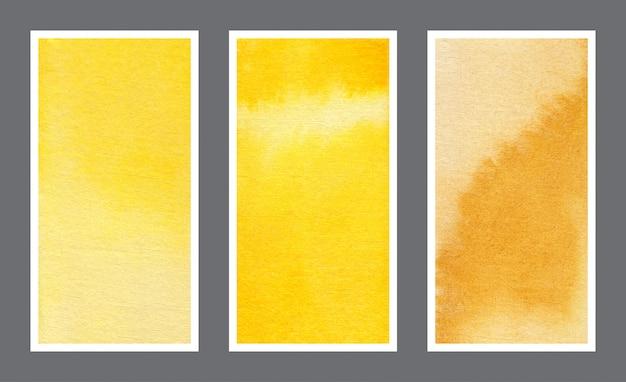 Conjunto de fondo acuarela amarillo banner web