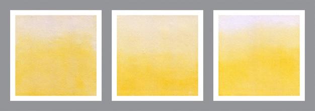 Conjunto de fondo amarillo acuarela