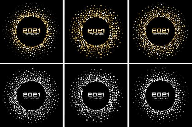 Conjunto de fondo de año nuevo. saludo. partículas brillantes