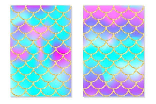Conjunto de fondo de arco iris holográfico sirena escala de oro impresión de holograma para tarjeta de invitación.