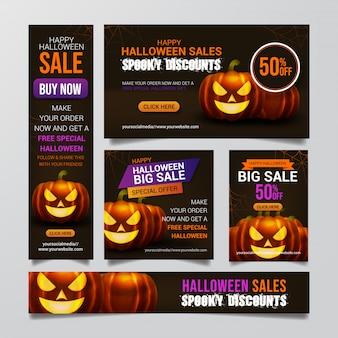 Conjunto de fondo de banner de venta de halloween