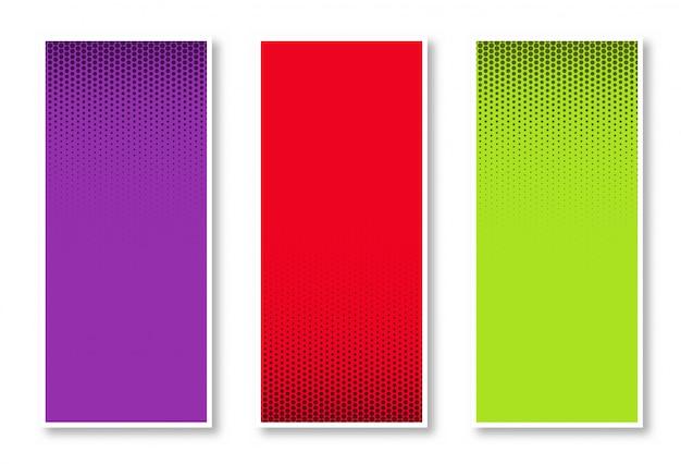 Conjunto de fondo de banner vertical de semitono en tres colores hermoso diseño