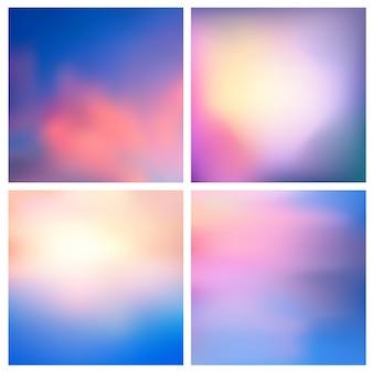 Conjunto de fondo borroso de naturaleza abstracta. conjunto de fondos borrosos cuadrados - cielo nubes mar océano colores verdes