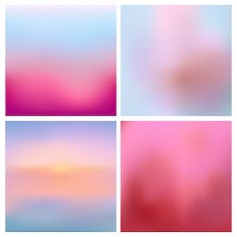 Conjunto de fondo borroso rosa rojo abstracto. conjunto de fondos borrosos cuadrados - cielo nubes mar océano playa colores