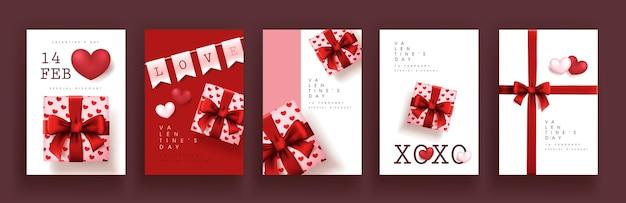 Conjunto de fondo de cartel o banner de venta de san valentín.