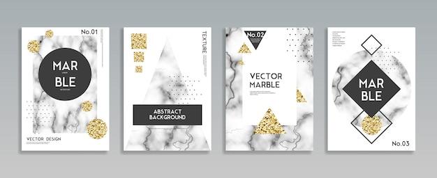 Conjunto de fondo de cartel de textura de piedra de mármol