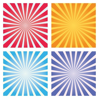 Conjunto de fondo colorido sunburst