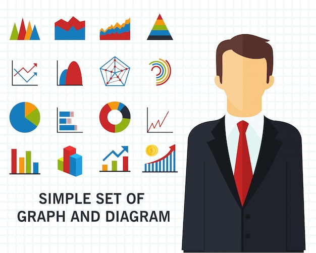 Conjunto de fondo del concepto gráfico y diagrama