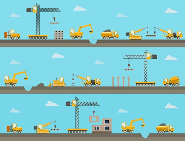 Conjunto de fondo de construcción horizontal transparente con iconos de equipos de construcción. ilustración vectorial