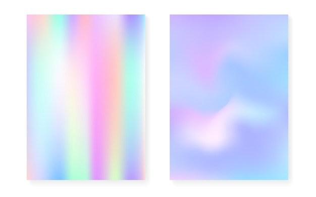 Conjunto de fondo degradado holográfico