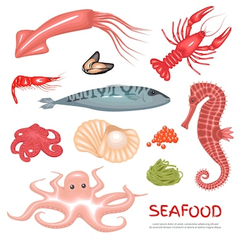 Conjunto de fondo de delicias de mariscos