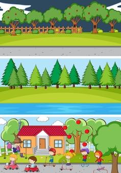 Conjunto de fondo de diferentes escenas horizontales con personaje de dibujos animados de niños doodle