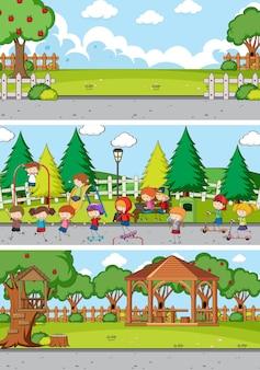 Conjunto de fondo de diferentes escenas de horizonte con personaje de dibujos animados de niños doodle